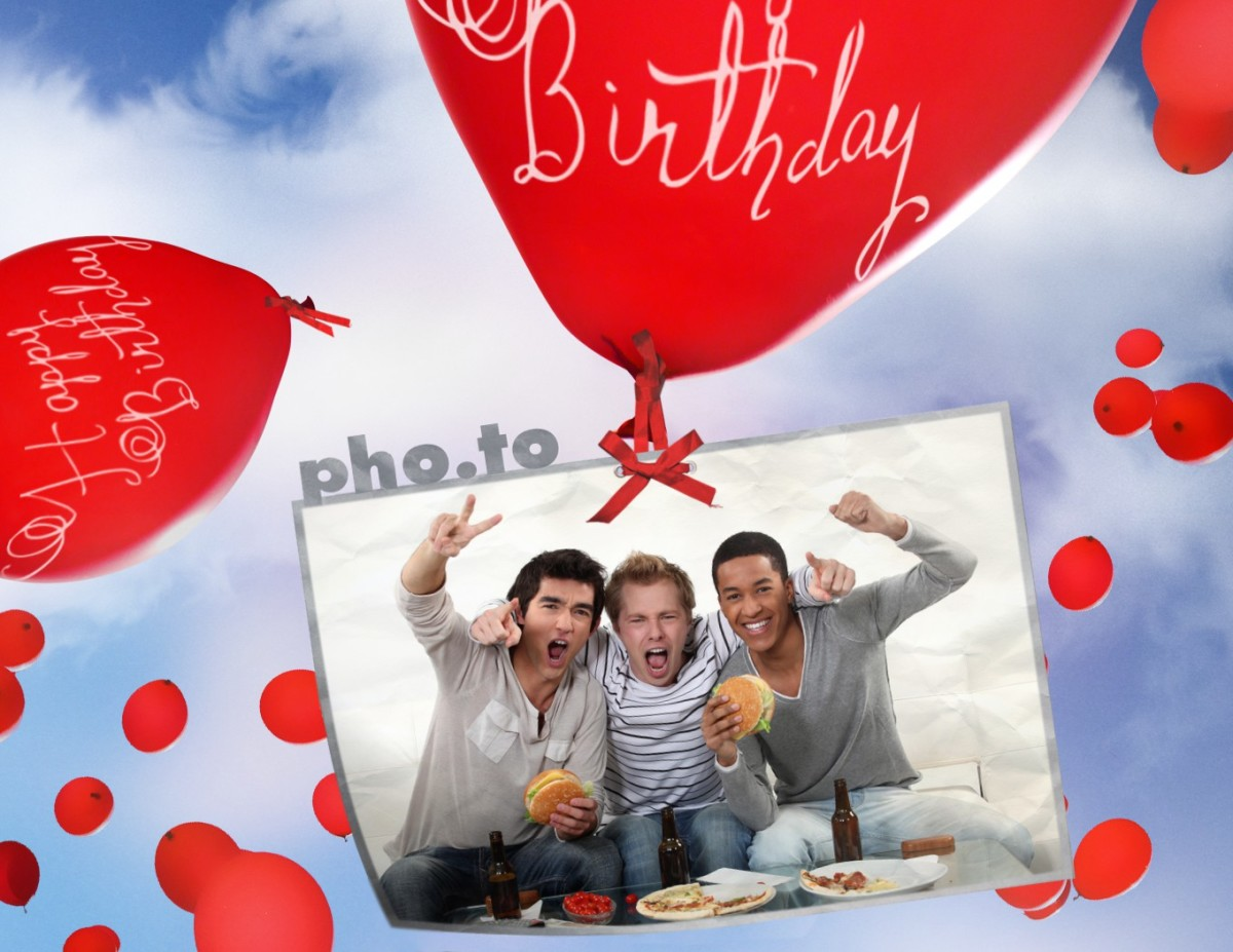 Birthday card with flying balloons Printable photo template – Online Greeting Card Template