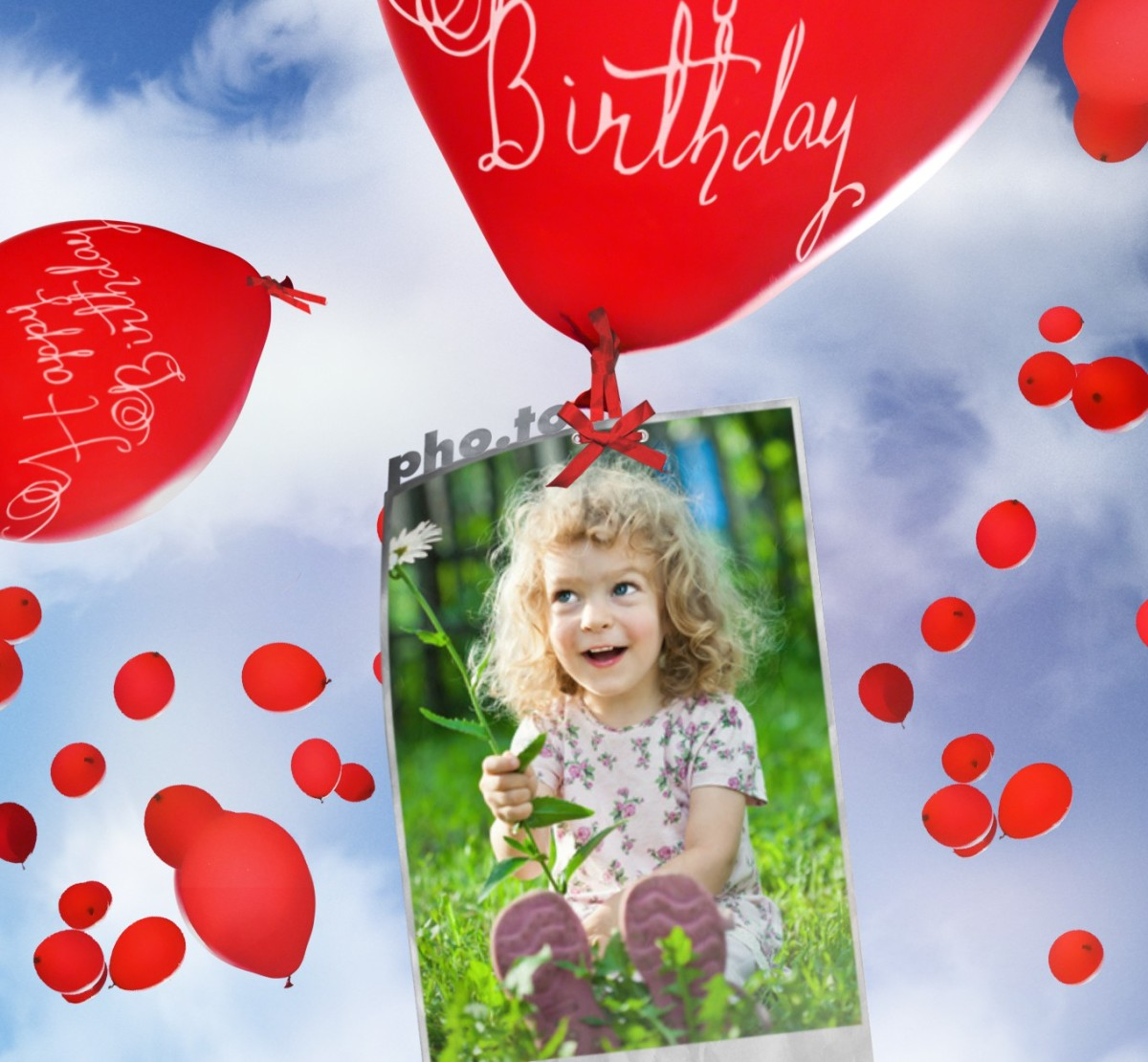 Birthday card with flying balloons Printable photo template – How to Make an Online Birthday Card