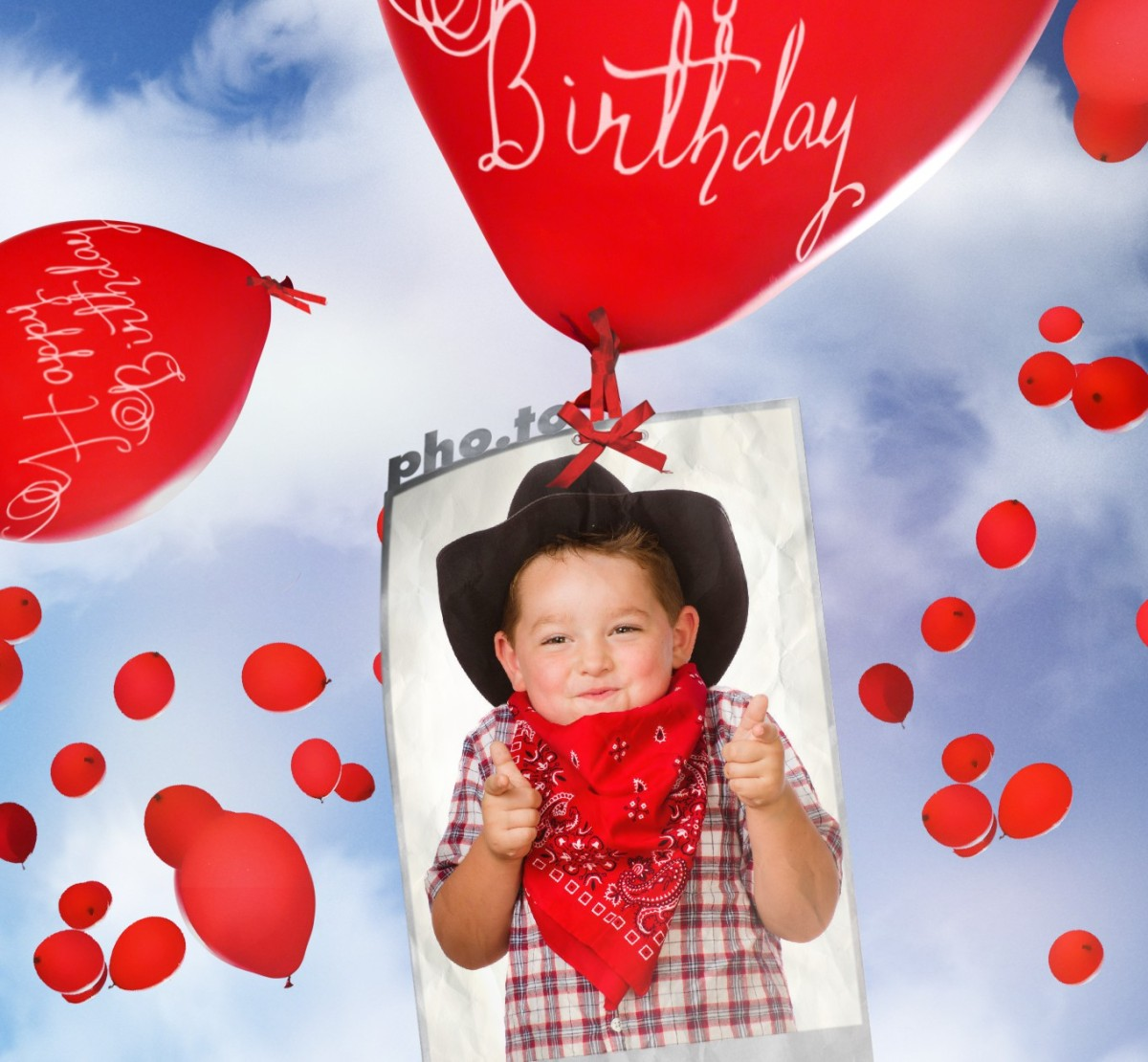 Birthday card with flying balloons Printable photo template – Online Birthday Greeting Card Maker