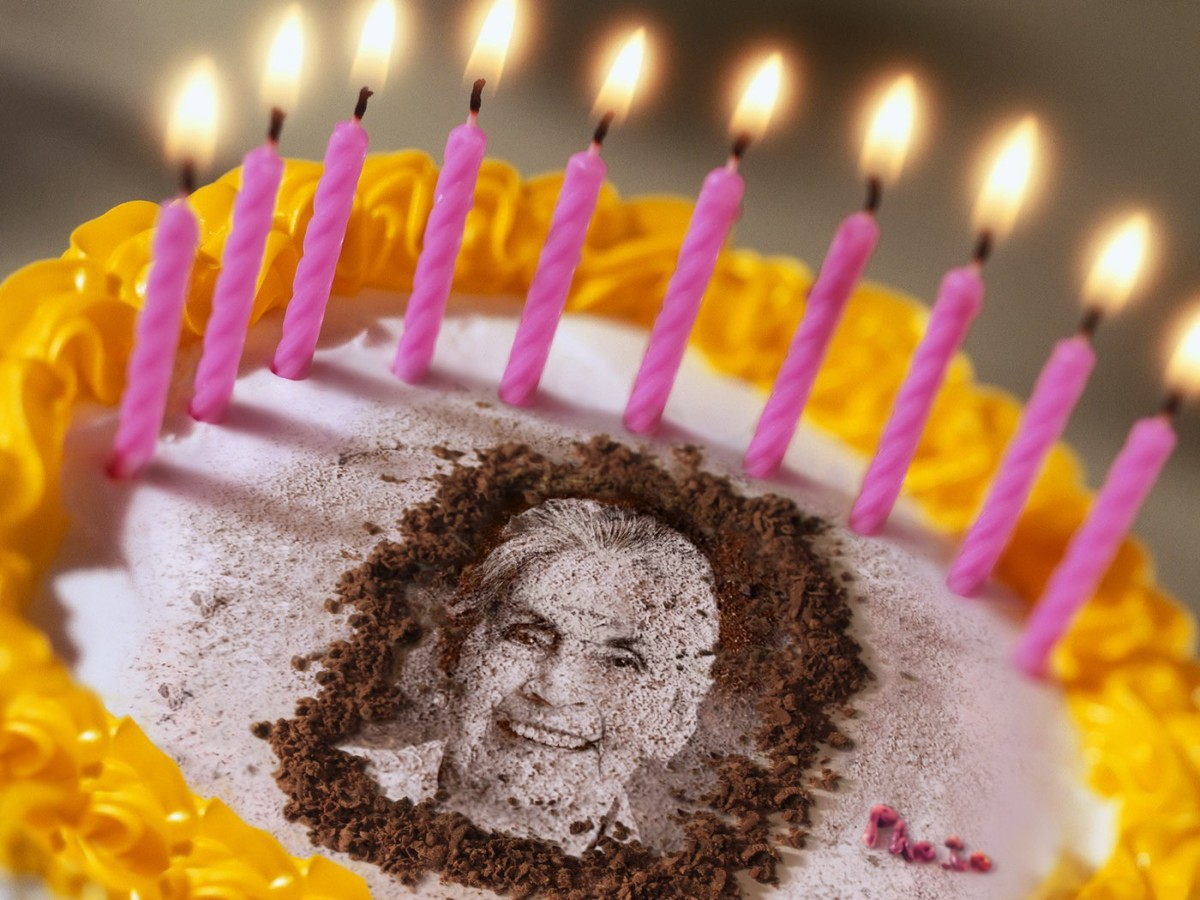 Birthday Cake With Photo Of A Grandmother Is Made By Editing