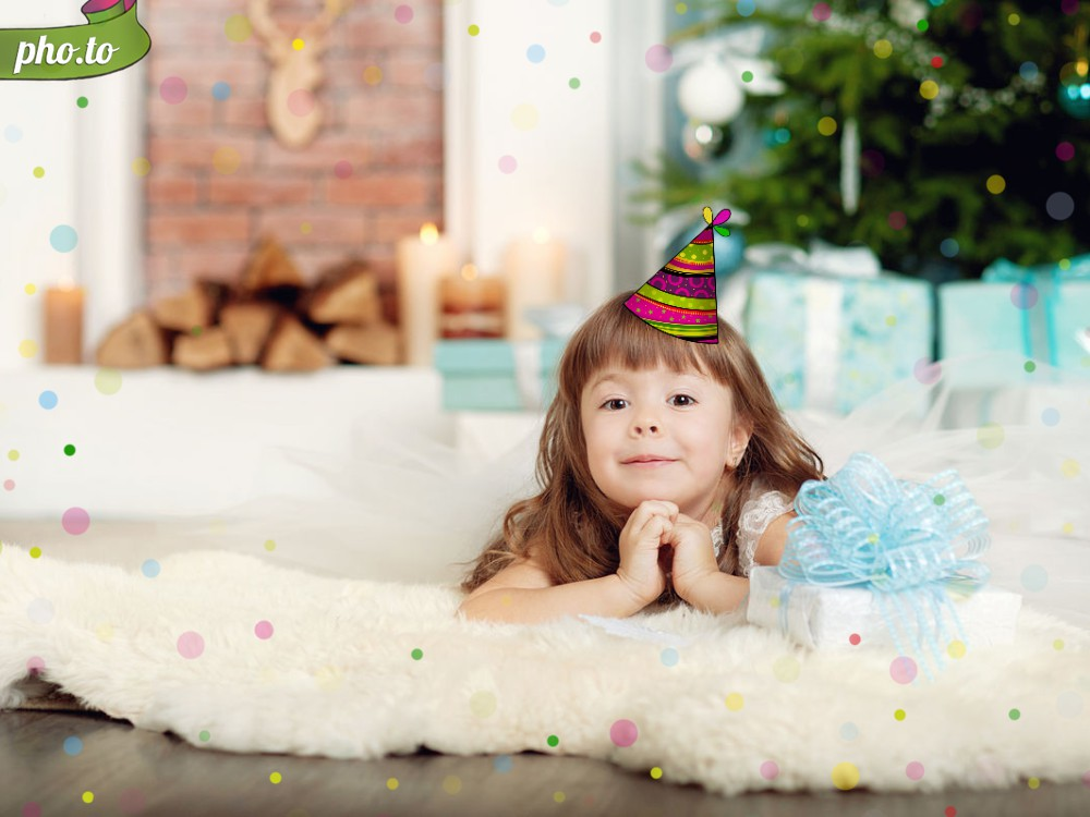 A birthday invitation idea: child's photo in a birthday hat template.
