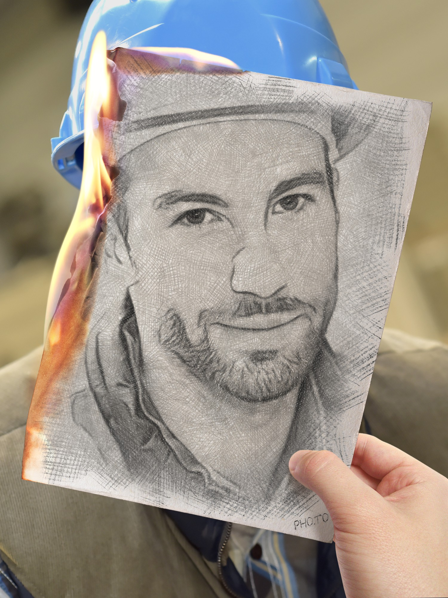 A steelmelter's portrait photo turned into a burning sketch