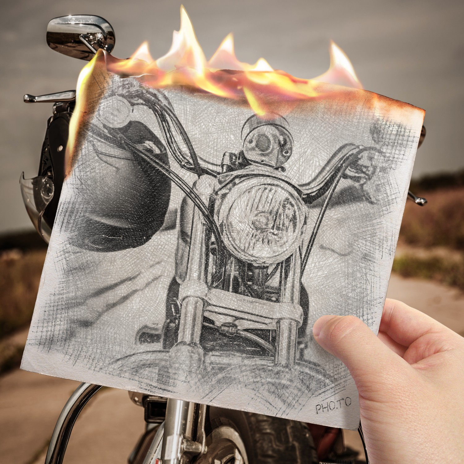 Burning sketch effect applied to a cool motorbike photo