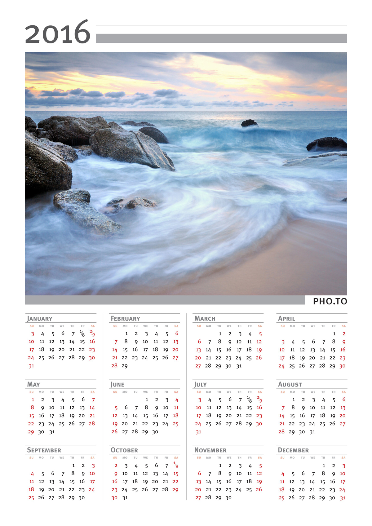 A portrait photo calendar made with personalized editing tool.