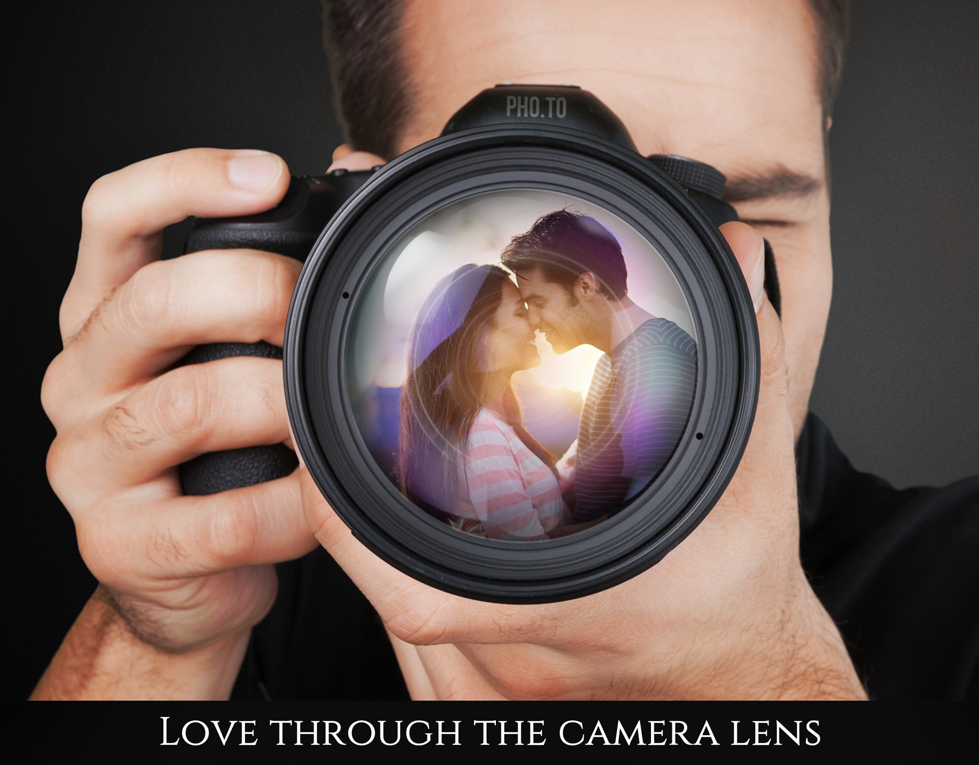 Put the focus on your love: reflect the shot of you two on camera lens