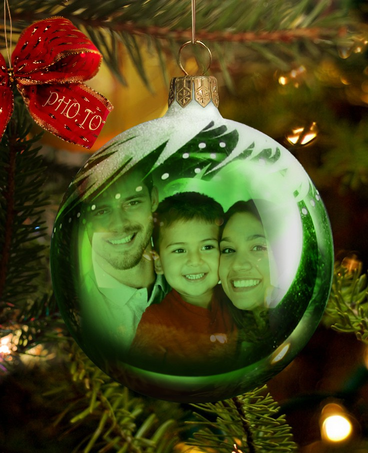 Make Your Own Xmas Cards Online Part - 42: Christmas Bauble Card With Online Christmas Decorations And A Family Photo.
