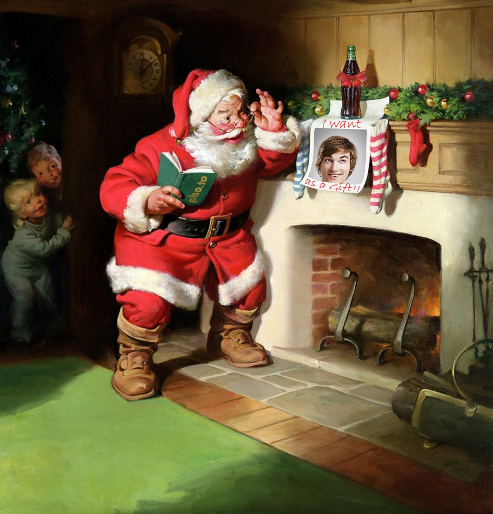 Man's photo is left on the fireplace as a Christmas wish for Santa