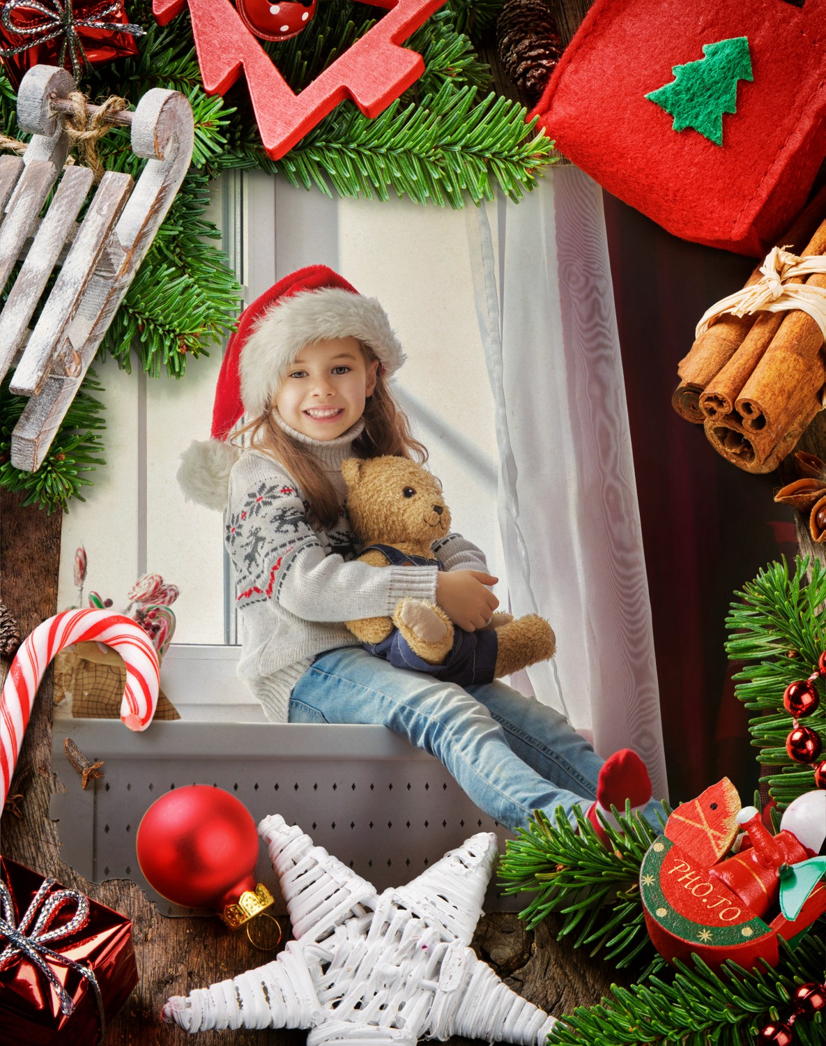 Christmas card made of photo of little girl in Xmas Santa hat