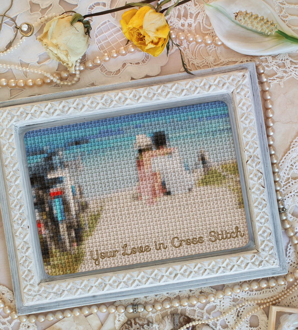 A photo of a couple made a part of collage with cross stitch online