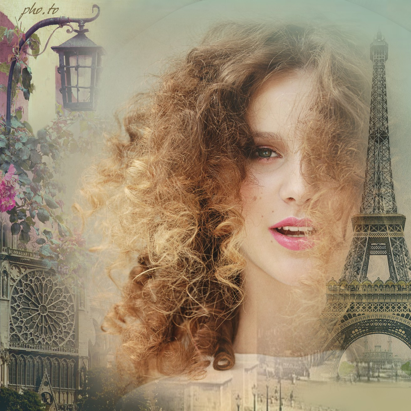change a photo background with this cute paris picture frame online