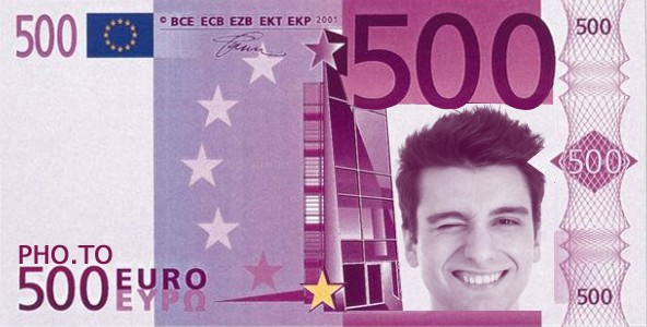 Put your face on a 500 euro note online – Money Note Template