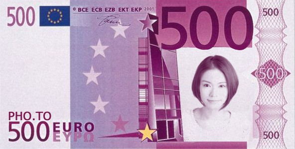 A photo of a smiling girl was inserted into the euro face in hole effect.