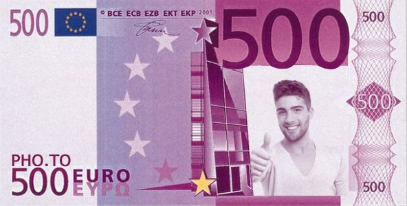 Fake Euro Template Applied To A Handsome Manu0027s Close Up Portrait.