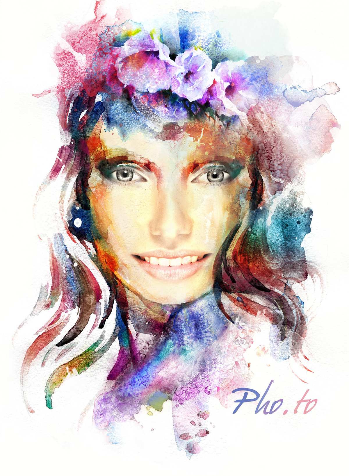 Female watercolor face in hole photo effect online.