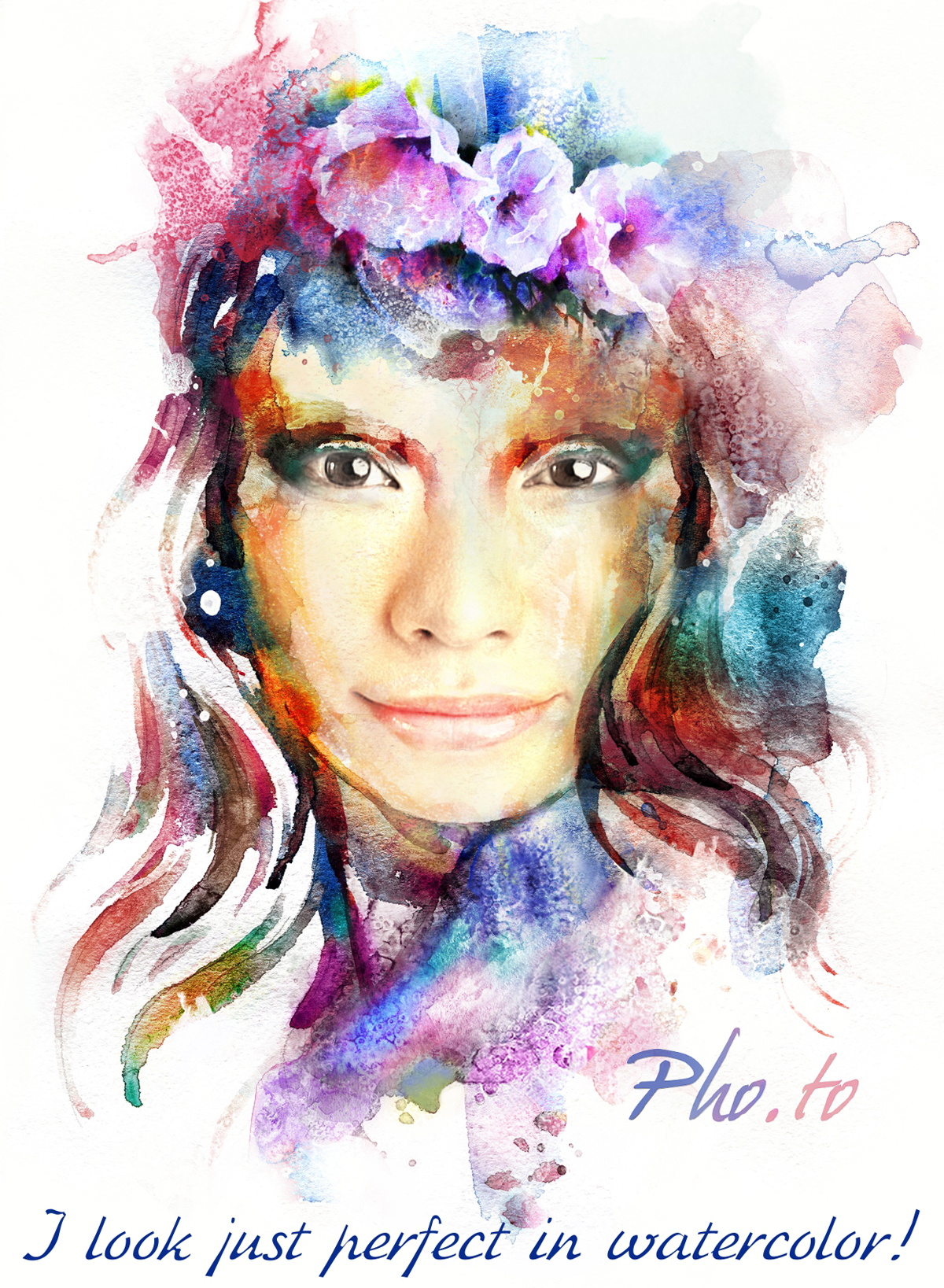 A photo turned into painting to get a colorful female watercolor portrait online.