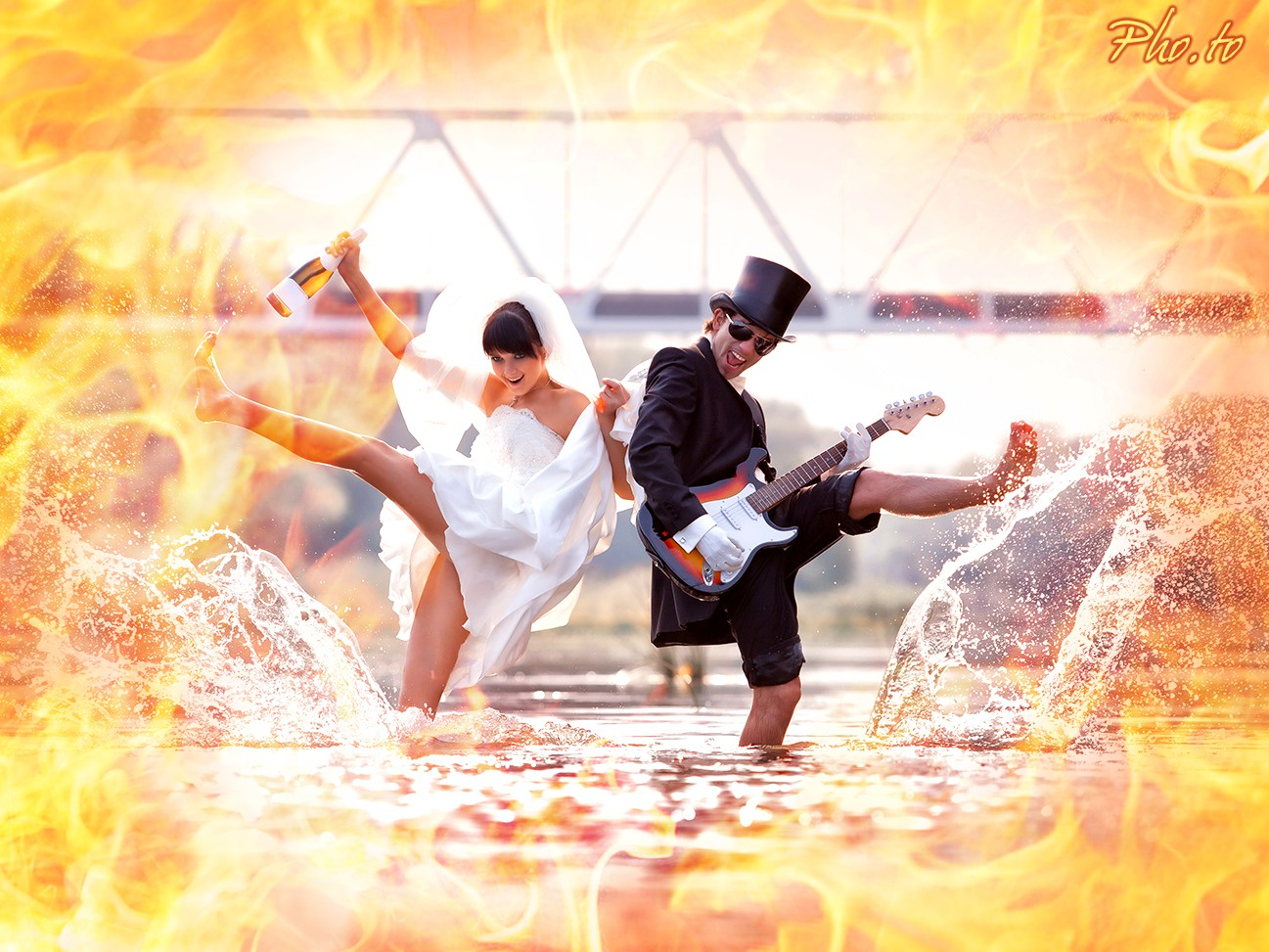 Fire overlay is applied to the funny image of happy newlyweds