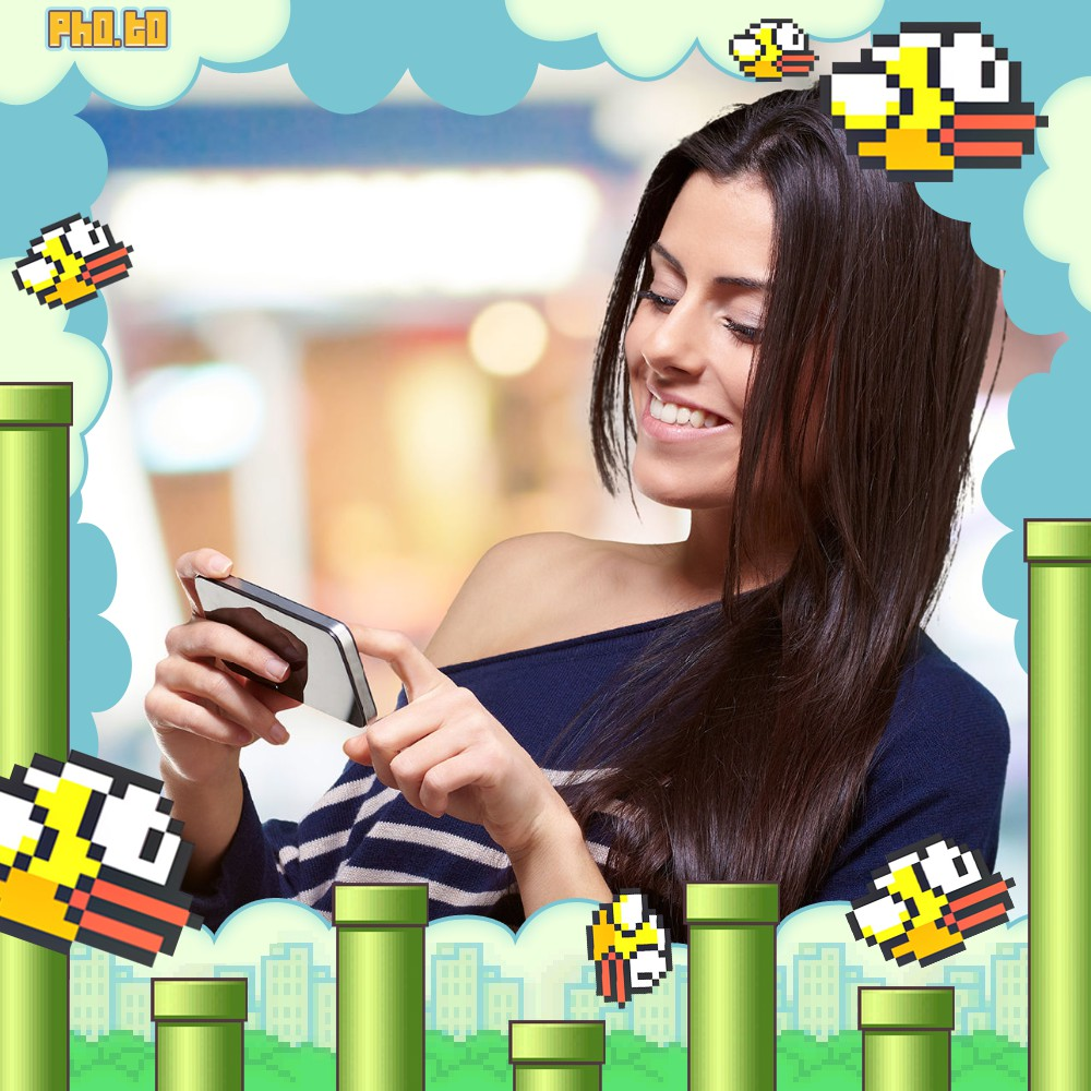 Young lady's photo is decorated with Flappy Bird photo effect.
