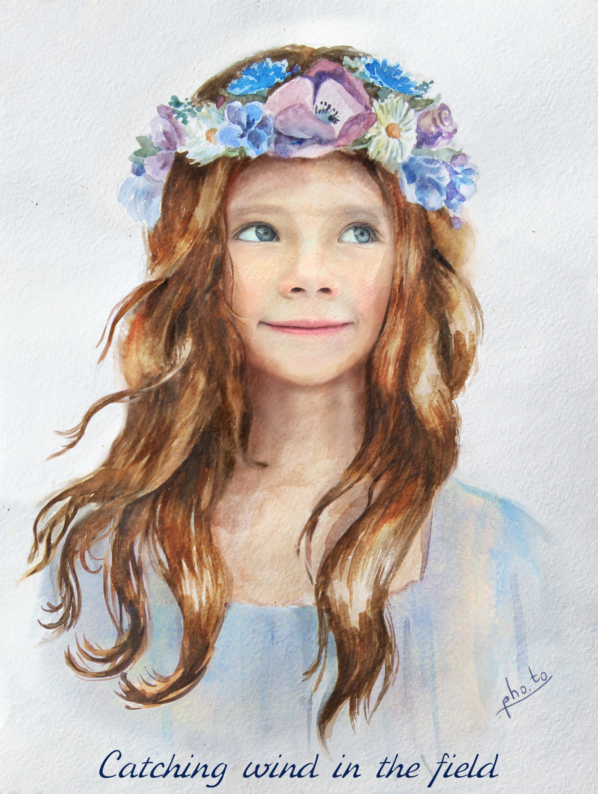 Put your face in a girl with flower crown painting template watercolor painting of a pretty little girl with a flower crown wreath izmirmasajfo