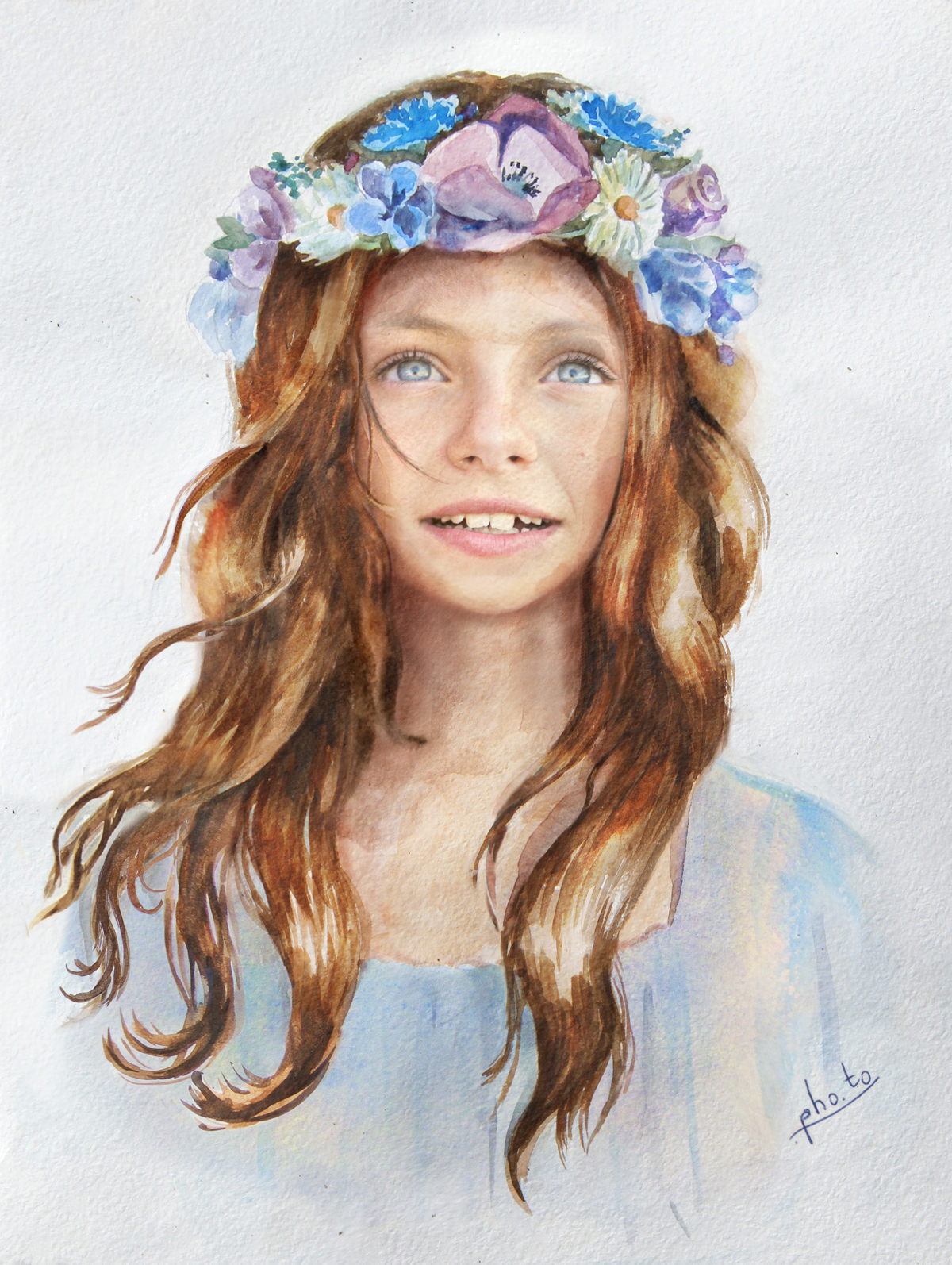 Put your face in a girl with flower crown painting template a fairy looking flower girl with a nice flower crown izmirmasajfo