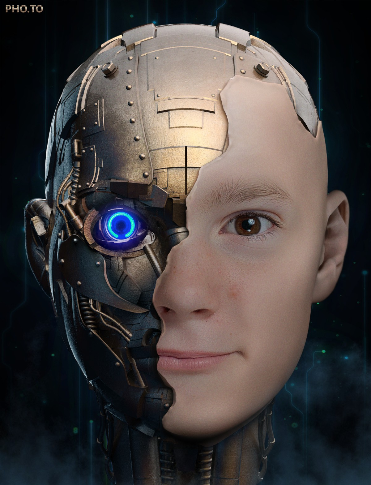 A boy is turned into a robot with face in hole photo effect.