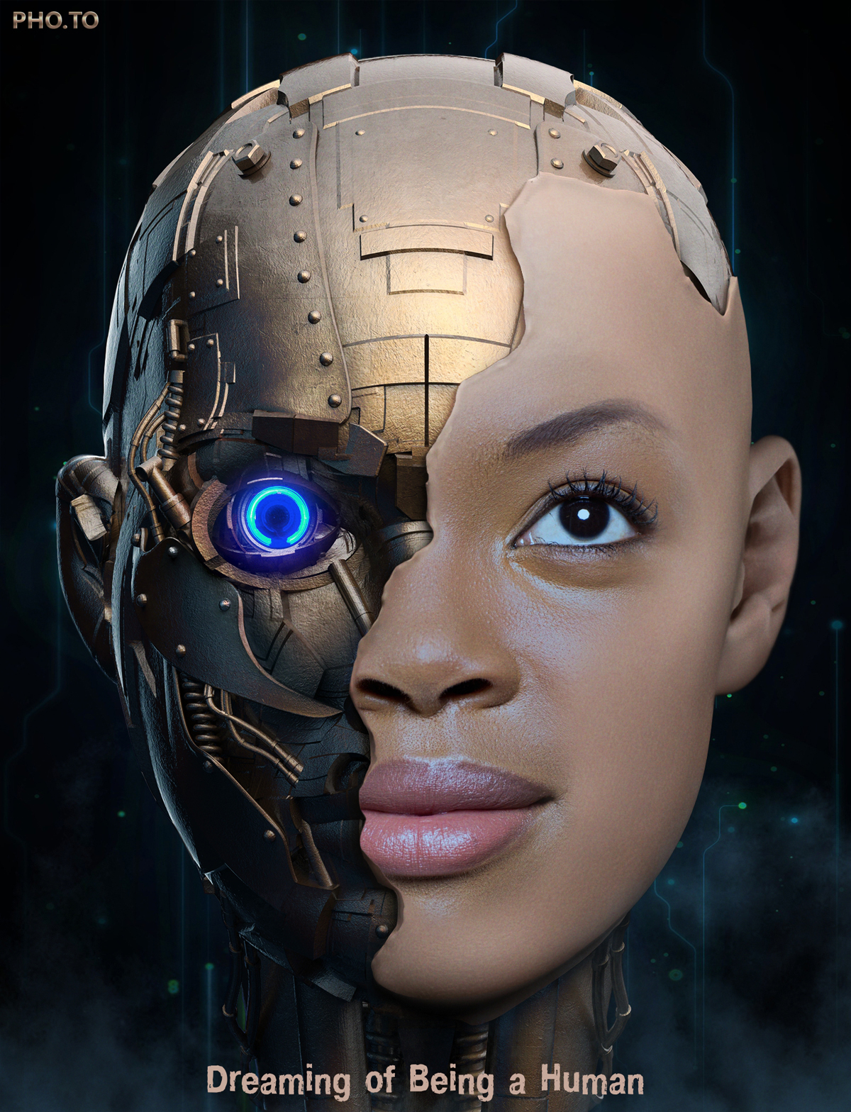 Robotic face imitated online on a photo of a young woman.