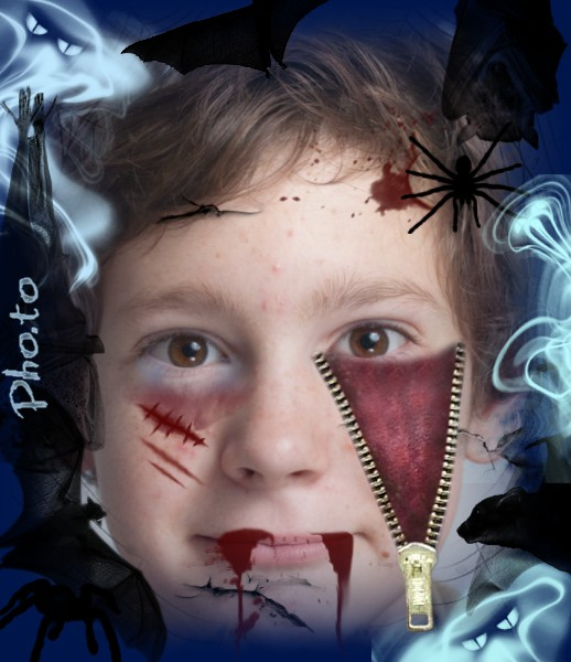 Halloween your portrait picture with fake blood on face.