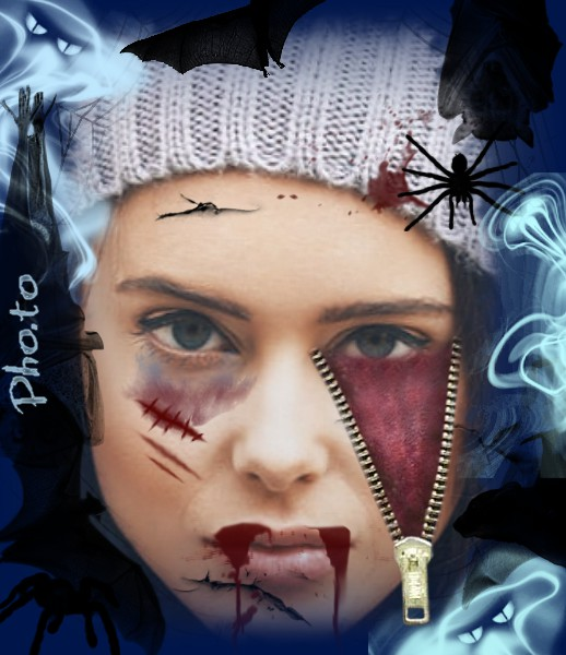 Bloody Halloween virtual makeup for a scary face picture!