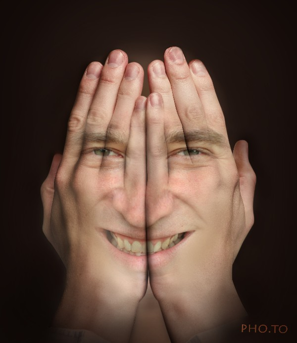 'Hands over face' creative photo manipulation