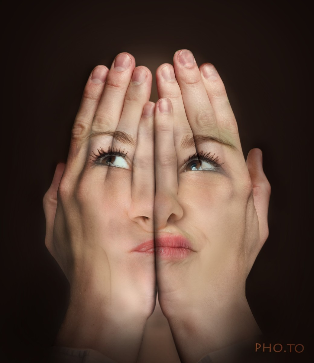 'Hands over face' free online photo montage