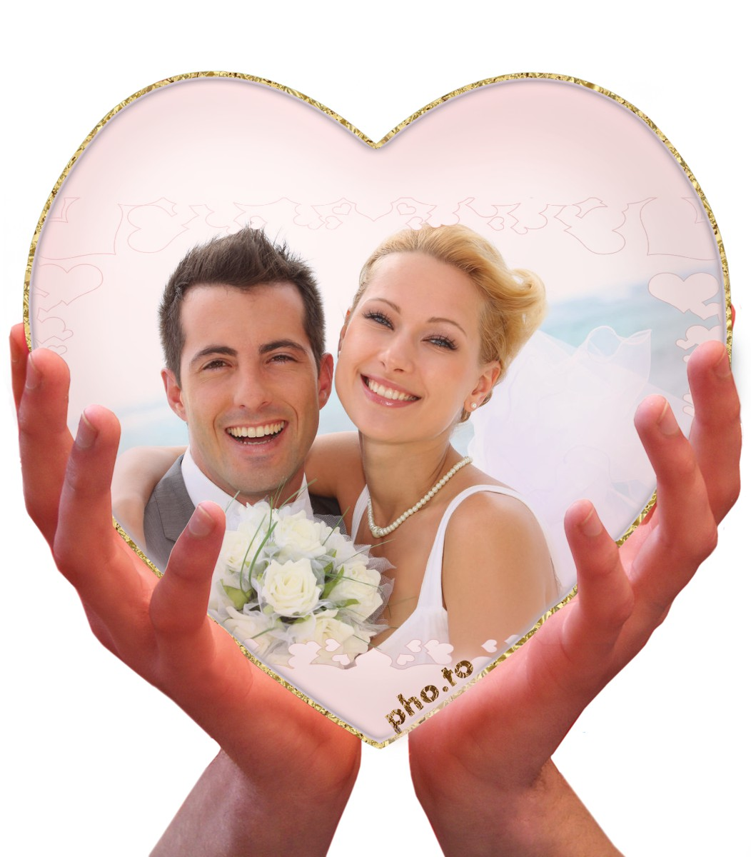 a wedding photo can get a more romantic look with a heart photo effect