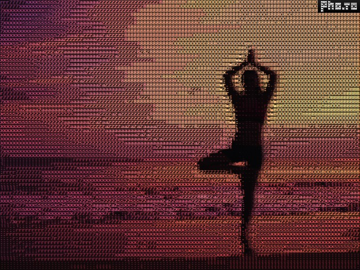 A silhouette photo of a girl doing yoga turned to color ASCII art.