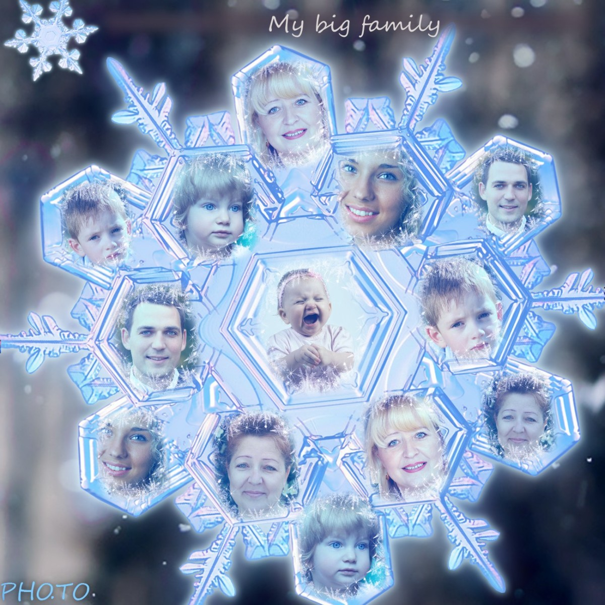Family members' photos in a snowflake mosaic photo collage.