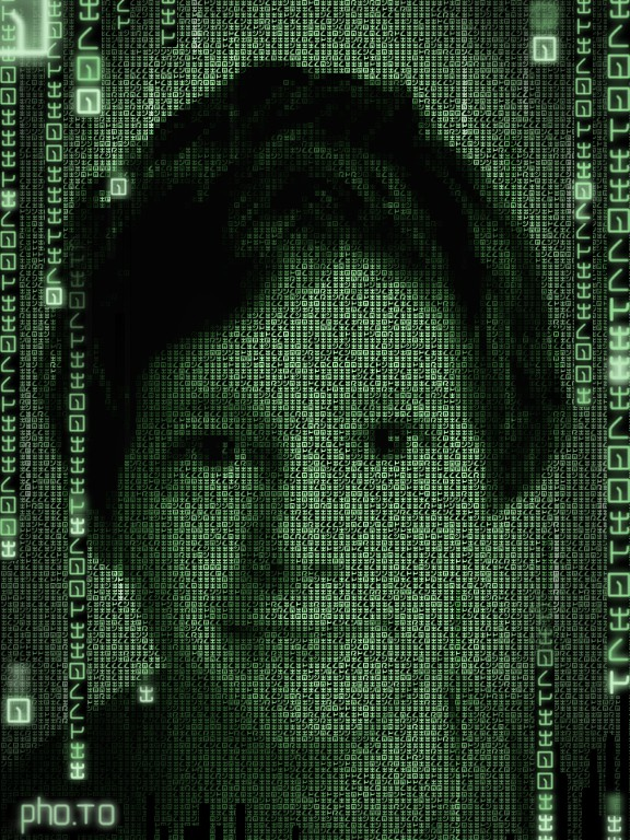 A close-up kid's portrait is transformed with a stunning cyber effect.