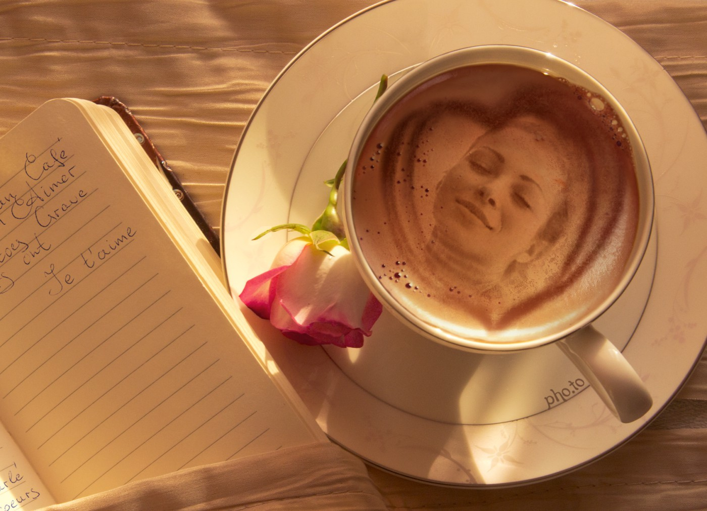 A love card is made with a romantic coffee frame.