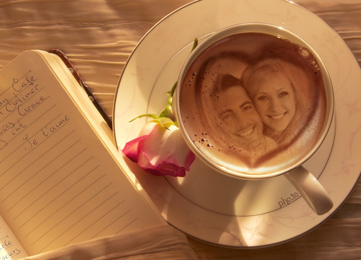 Greeting love card with photo printed on coffee.