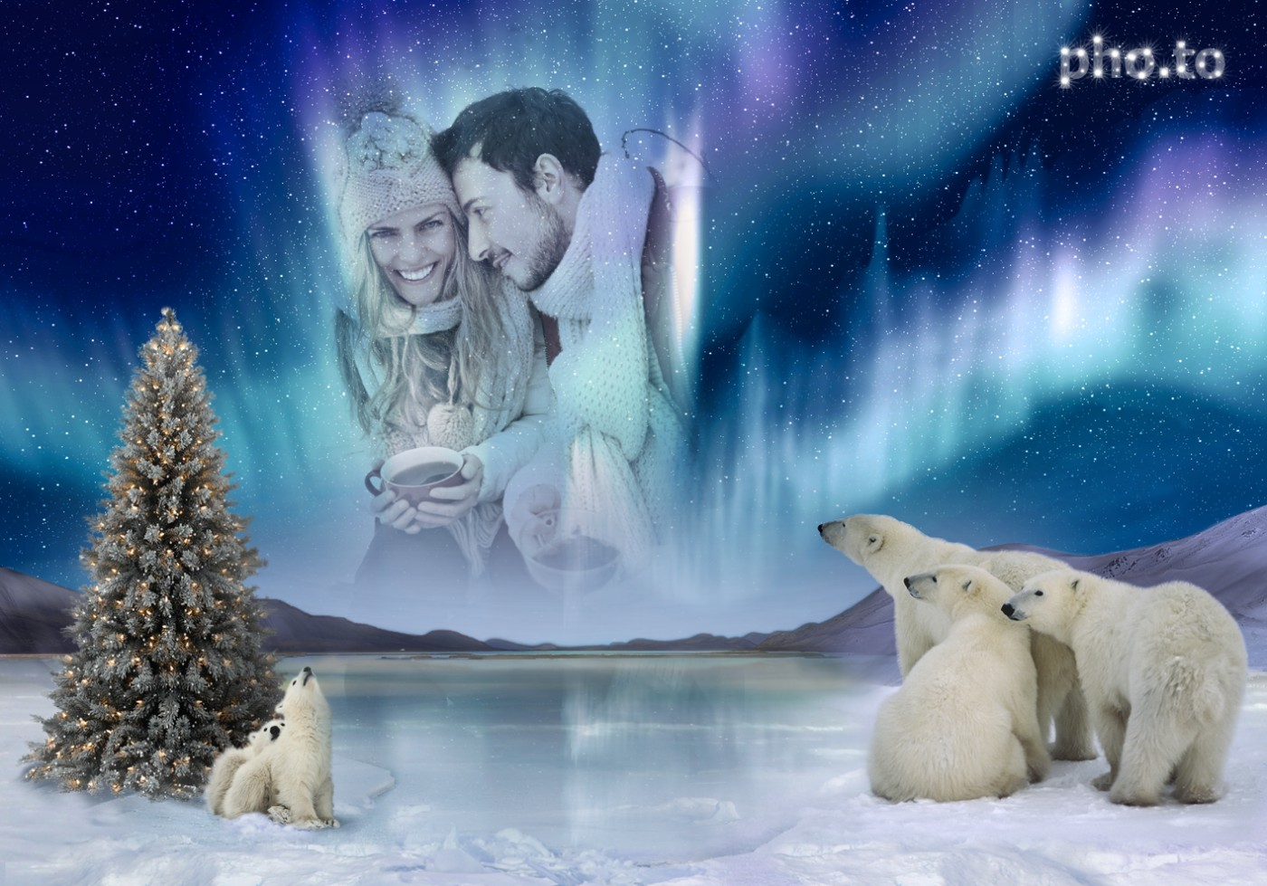 A photo of a couple is put into the scene with polar bears watching Northern Lights in the sky