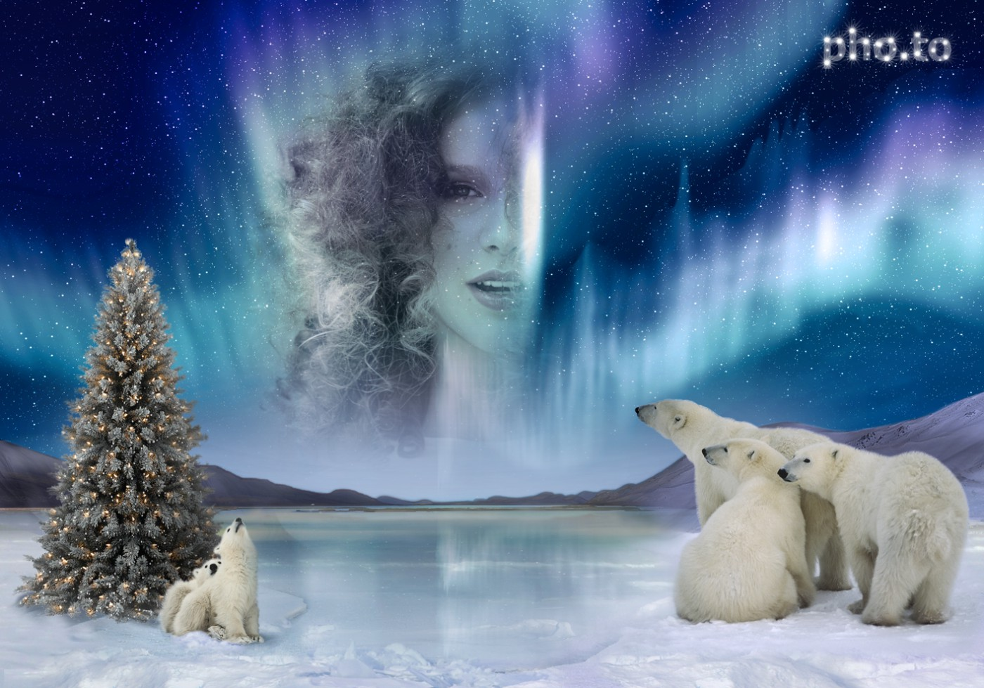 Northern Lights in the night sky, created out of woman photo online