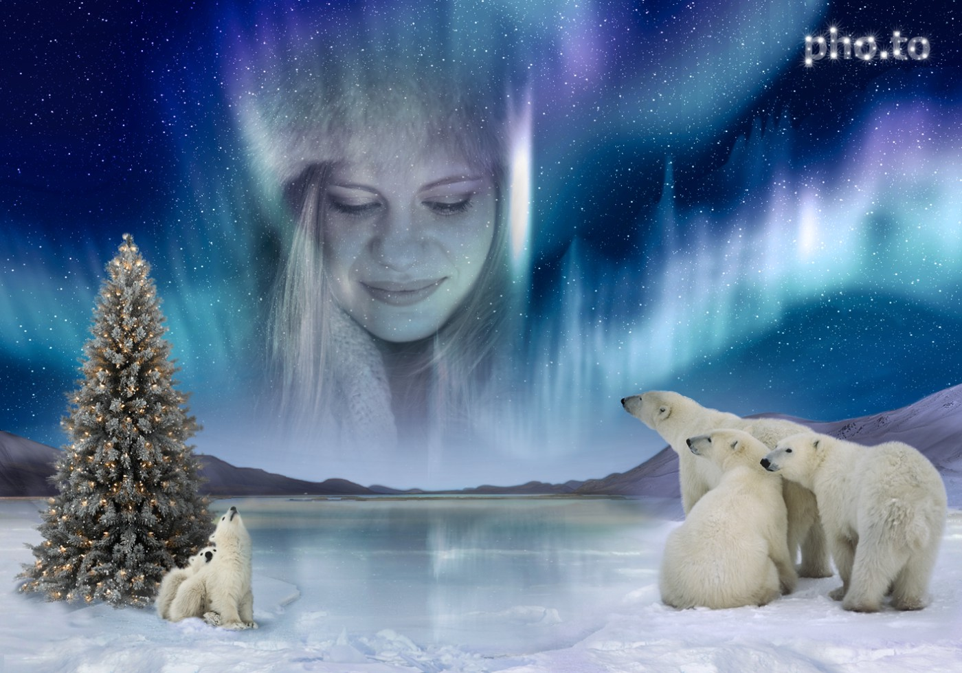 A girl's photo is turned into Aurora Borealis on Funny photo