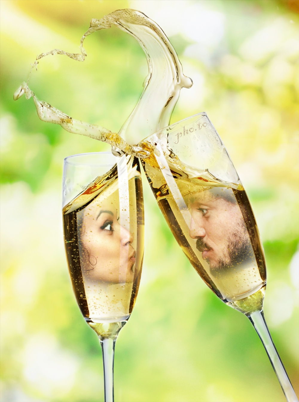 A kiss through a glass of an elegant wine glass.