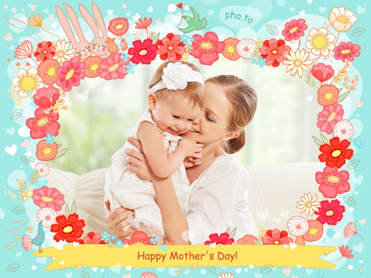 Cute Mother's Day photo card with rabbits and flowers.
