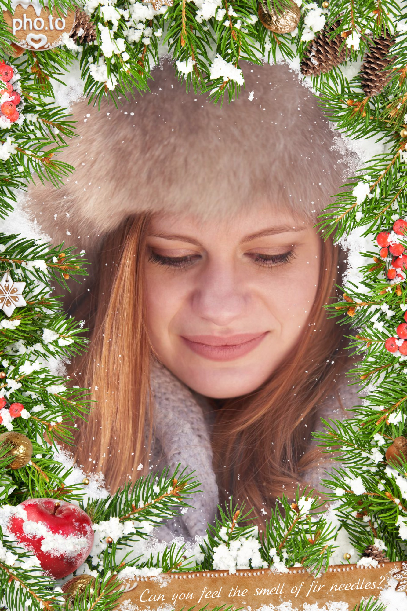 A woman's photo is surrounded with fir needles and pine cones in the snow