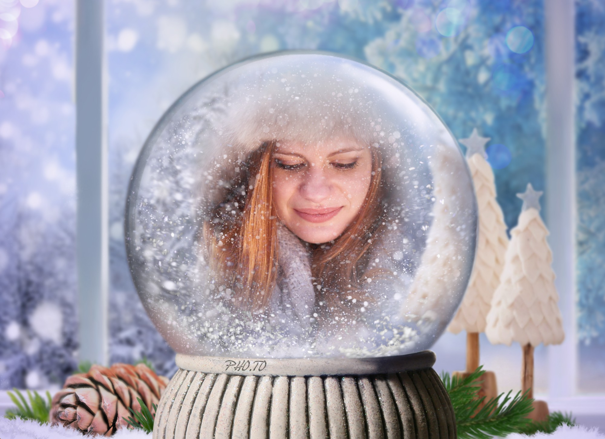 Girl's photo is put in a beautiful snow globe online