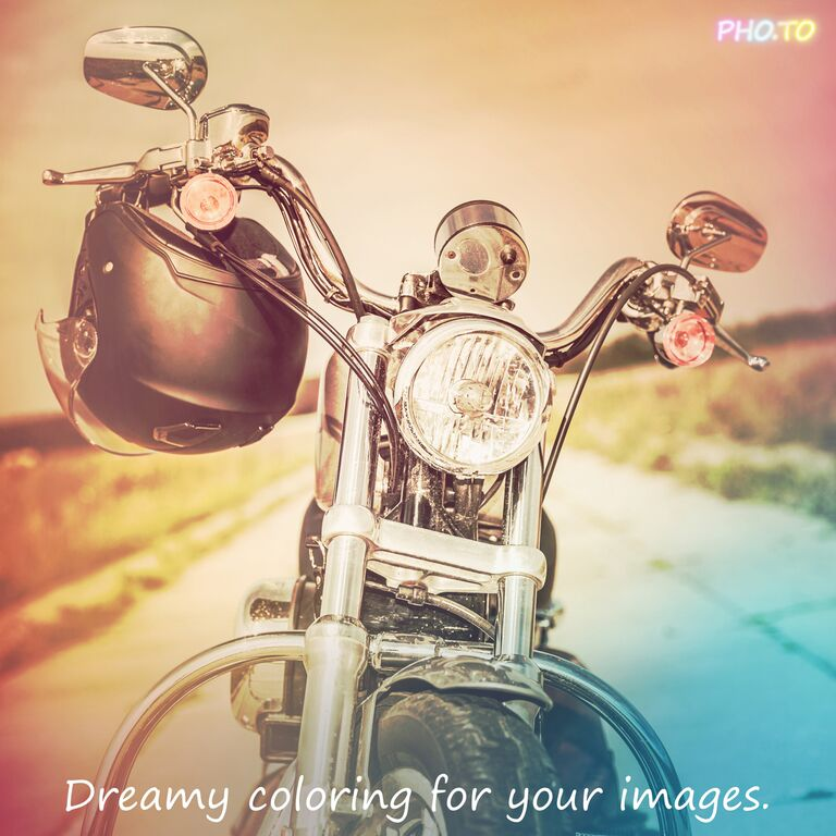 Motorcycle photo in retro style with color filter applied.