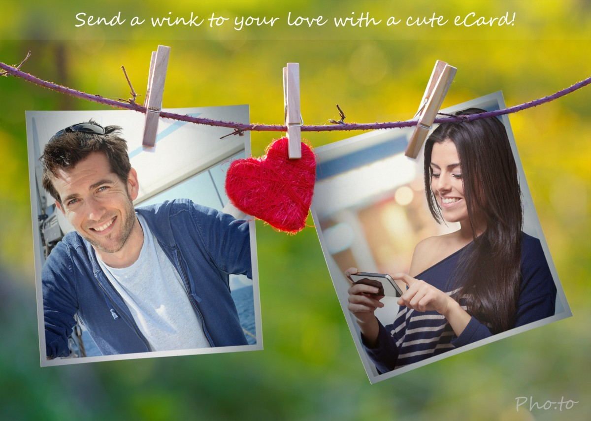 Couple photo frame. Make Valentine card filled with spring