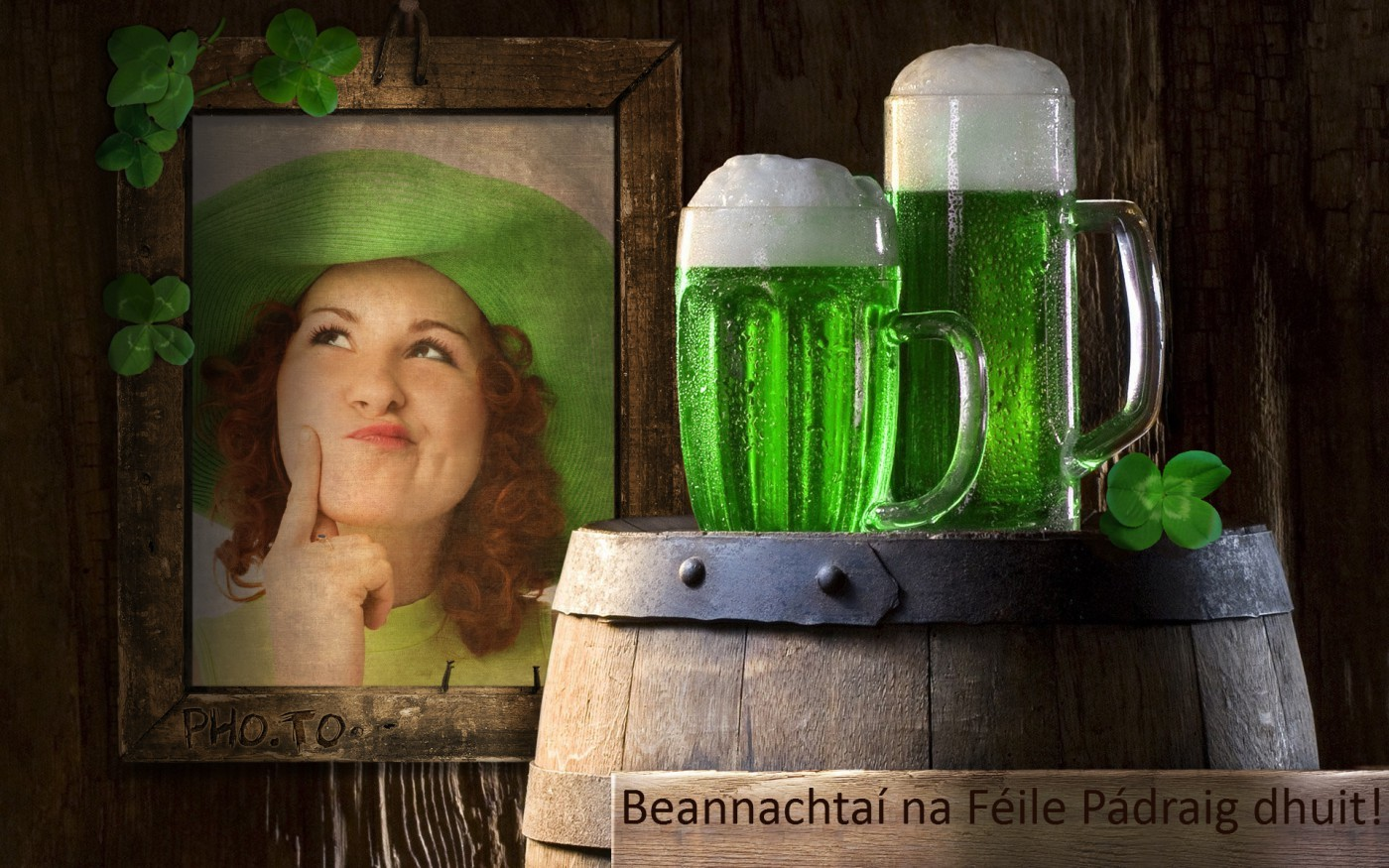 Happy St Patricks day card with a custom pic & wishes for your pals.