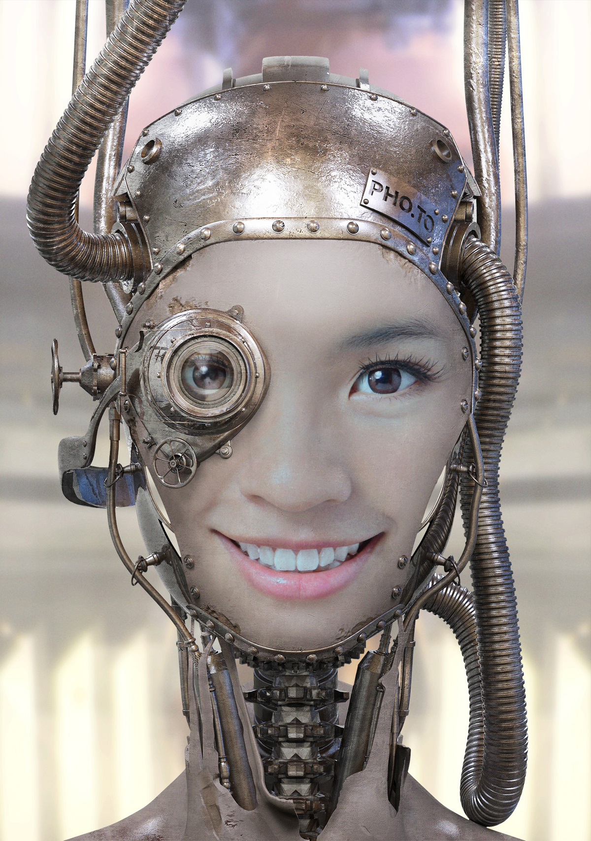 Turn yourself into a robot with online steampunk face effect