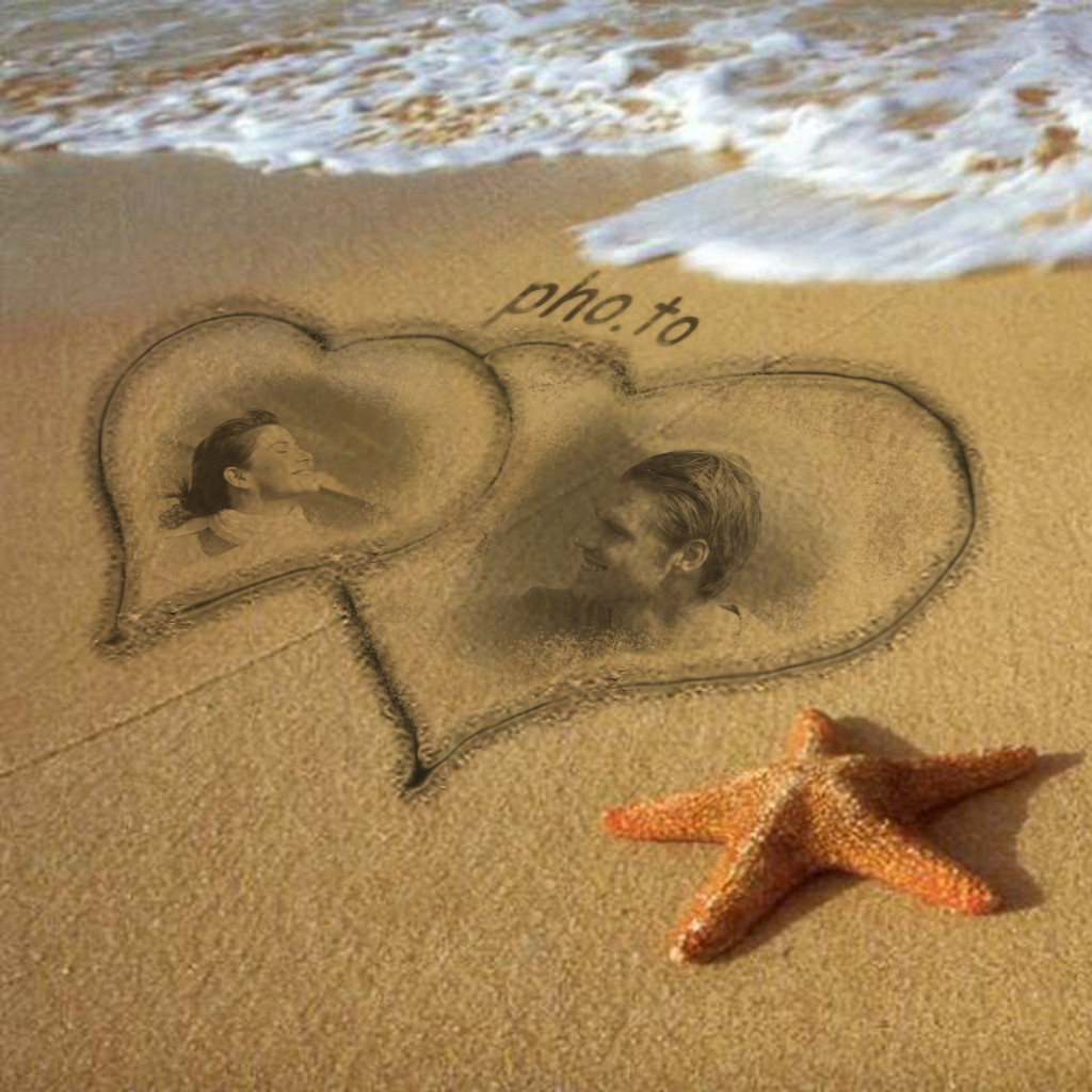 Summer photo frame with sea, sand and a sea star looks like a piece of art.