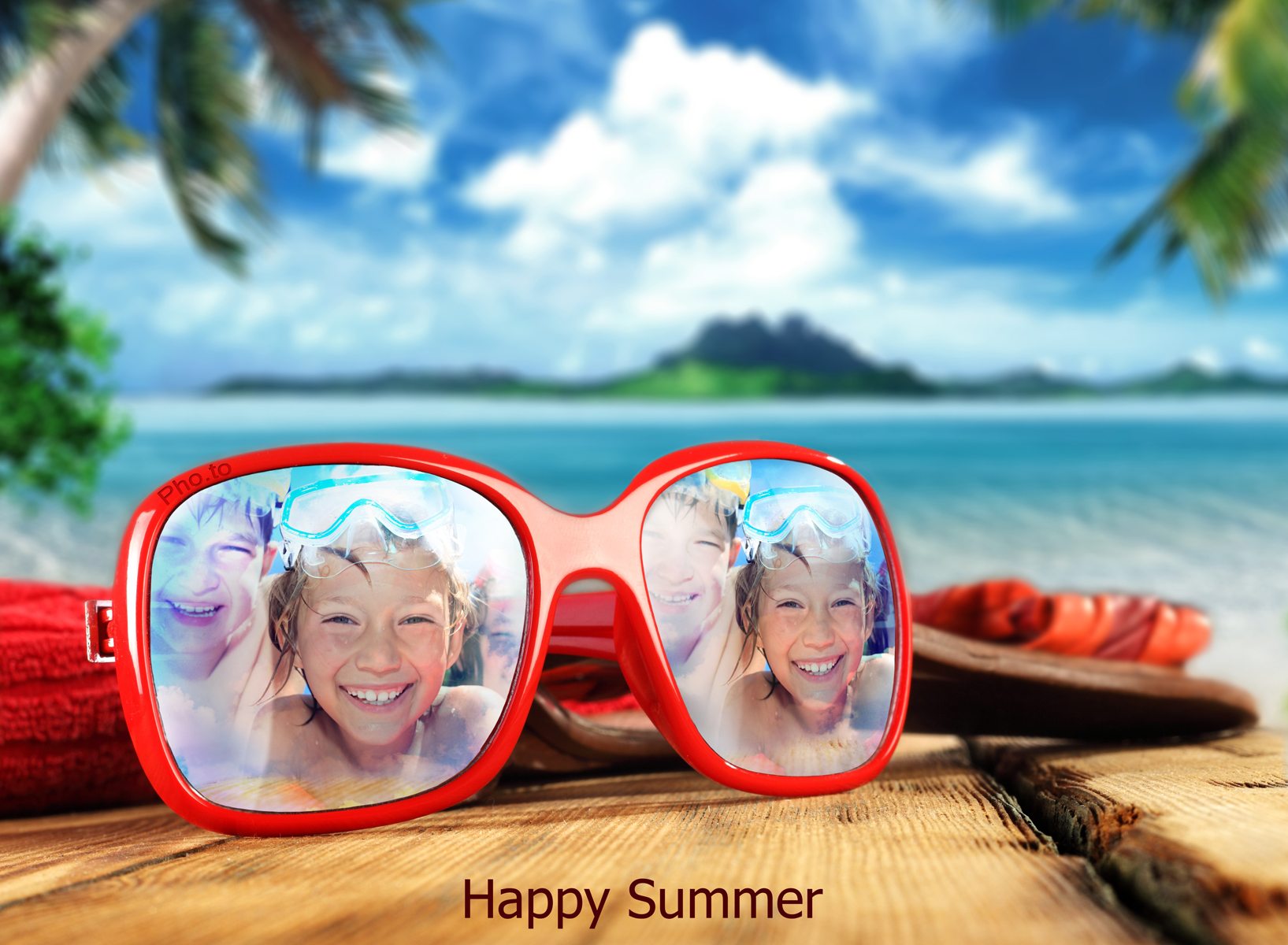 Vacation cover photo with sunglasses picture frame applied