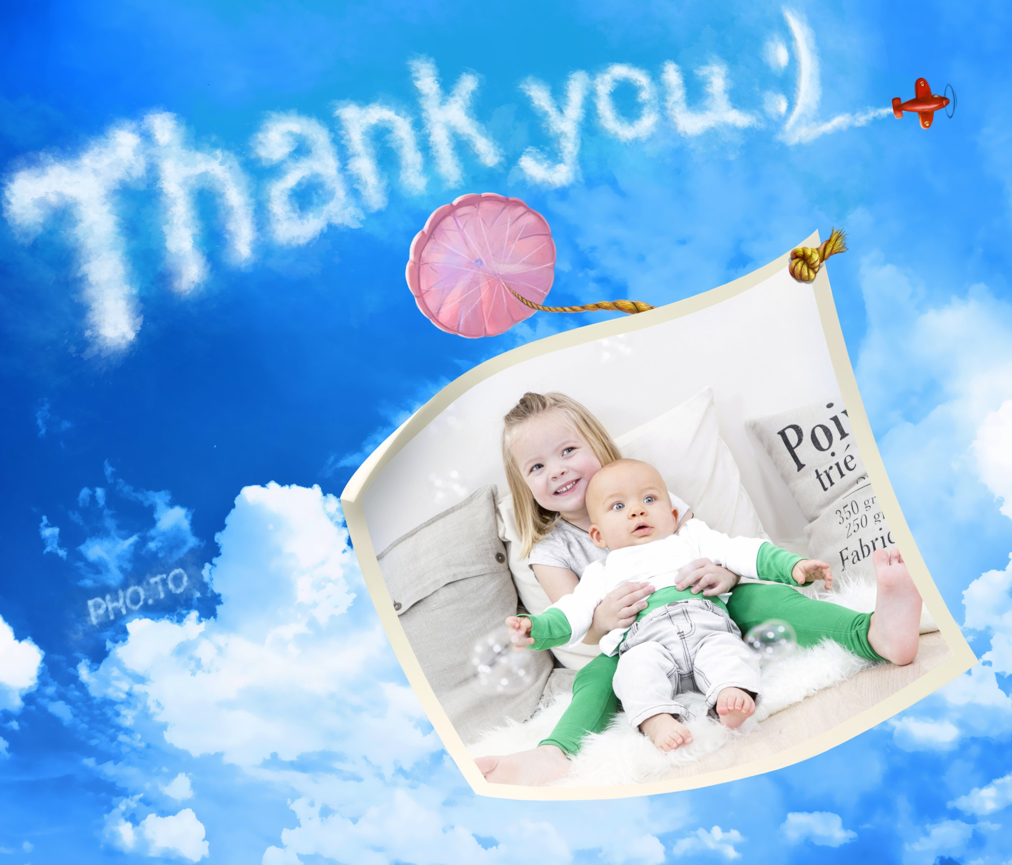 personalized thank you card with happy friends