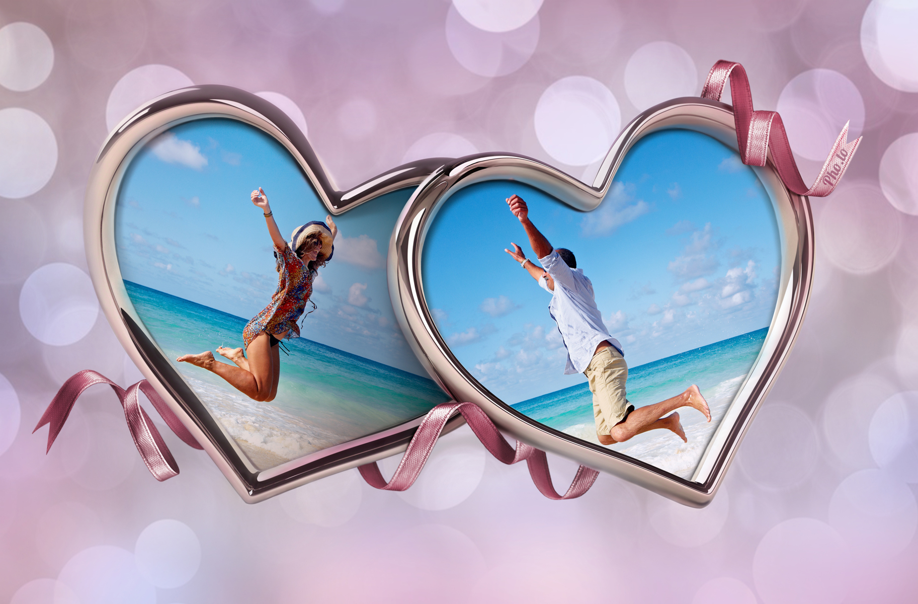 demonstration of online love frame with hearts for two photos